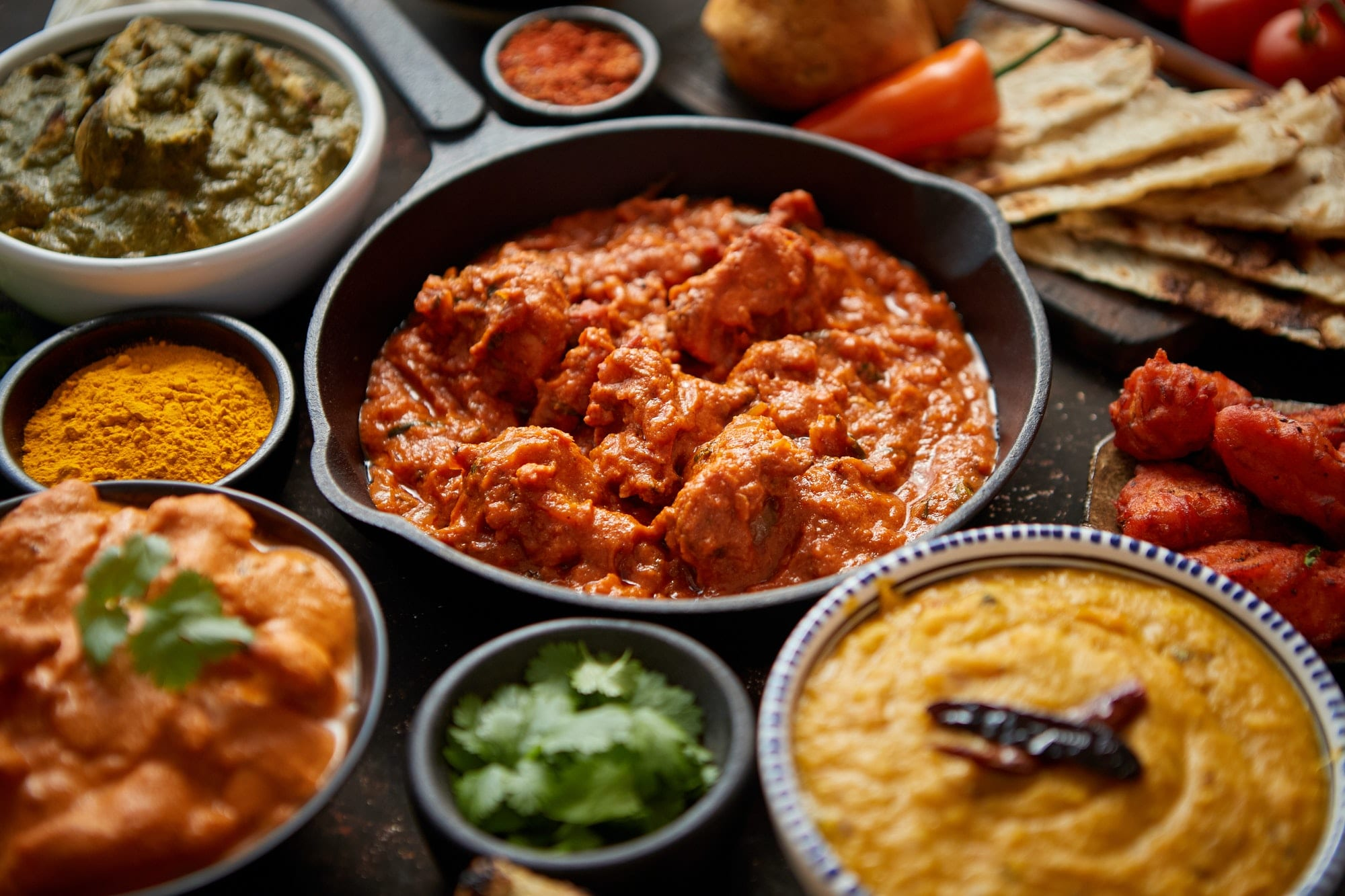 Assortment of various kinds of Indian curry
