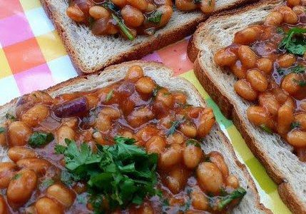Indian style beans on toast