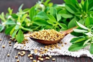 Fenugreek in spoon with leaves on board